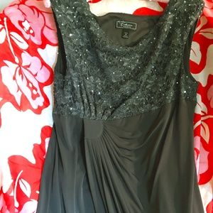 Grey Sequin Special Occasion Dress with Shirring